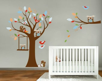 children's tree set- Nursery decals- Wall decals- Owl tree- Vinyl decals- Tree and branch set