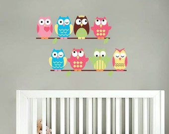 Kids set of 8 owls on a thin branch vinyl wall decal cute for a nursery or childs room