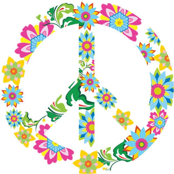 Kids decal - Wall decal - Teen decal - Peace sign - vinyl wall decal - flowers leaves vine