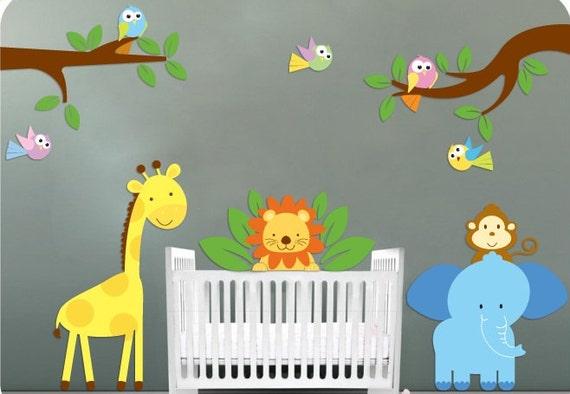 Jungle Decal Set Features Giraffes Elephants Lions Birds More