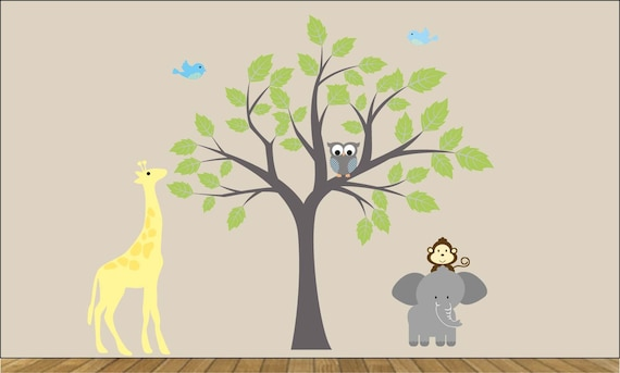 childrens removable vinyl wall decal Tree Elephant Giraffe Monkey  Birds  great for any nursery kids room or playroom