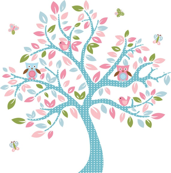 ON SALE Kids tree vinyl wall decal with owls and butterflys So sweet for any girl nursery
