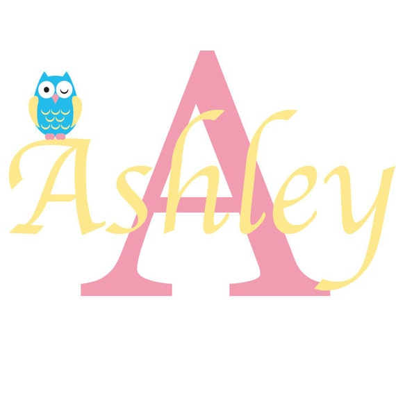 Kids initial monogram name with owl vinyl wall decal super cute for any nursery