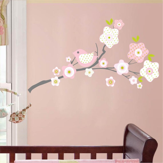 ON SALE Kids tree branch with flowers bird vinyl wall decal