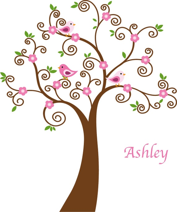 """Tree with birds and childs name vinyl wall decal cute for a nursery or childs room 96"""" tall"""