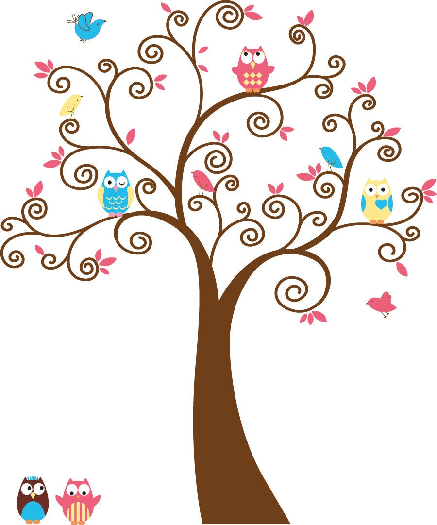 Cute kids tree with 5 owls and birds vinyl wall decal cute for