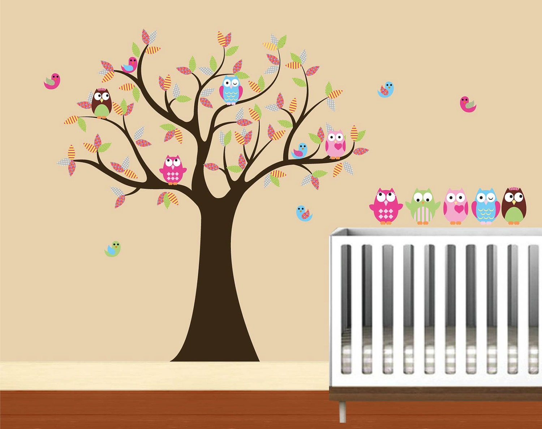Kids baum mit 4 eulen 7 v gel und satz von 4 free von - Wandtattoo eulenbaum ...