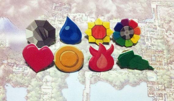 Kanto (Indigo League) Badges - Pkmn Gen I - set of 8 as pins or fridge magnets