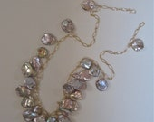 Mauve Keshi/Keishi Pearl Necklace in Gold