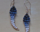 Sapphire Flicker Earrings in Gold --Ombre--Navy to White
