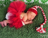 Newborn Red Christmas Tutu - Santa Elf Holiday Outfit for Infant Baby Girl - Satin Wrapped Waist