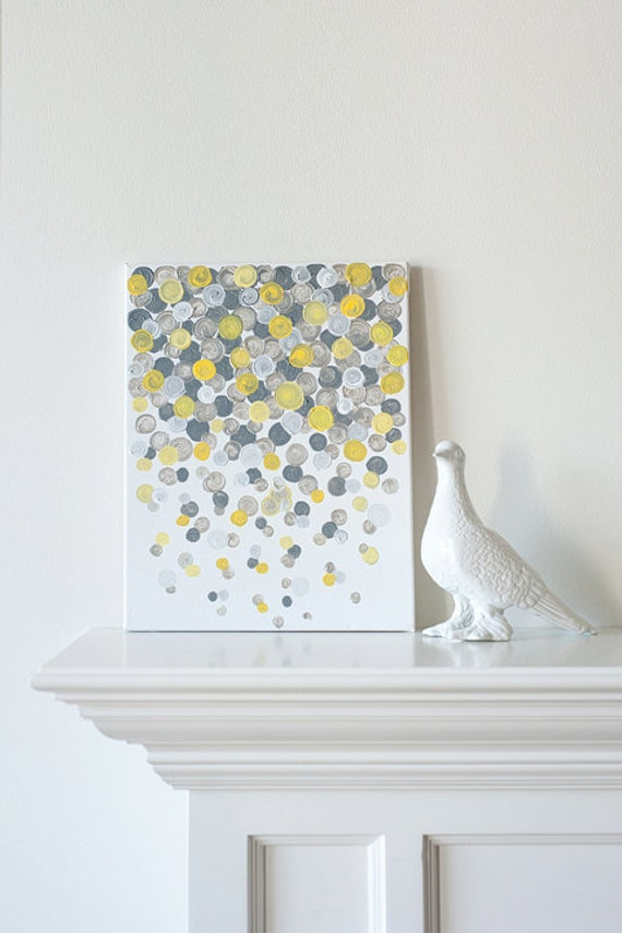 11x14 Canvas Painting- Confetti: Yellow & Grey