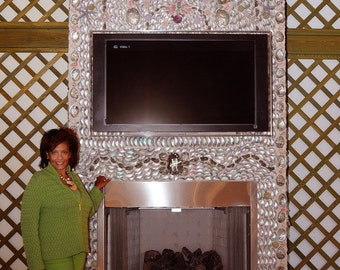 Sea Shell  FIREPLACE,TV Console....inspired by VIZCAYA Museum  & Gardens Grottoes