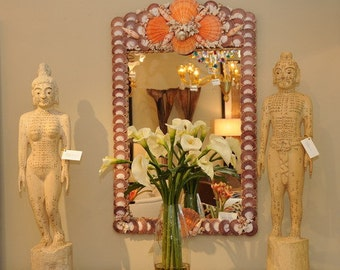 ORANGE Sea Shell Mirror.. inspired by  Grottos at VIZCAYA Museum &  Gardens