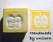 Hand Carved Rubber Stamp - Apple FOR YOU (HC-0025)