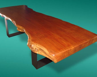 Live Edge Dining Table Reclaimed Solid Slab Rosewood With Burl Extremely Rare