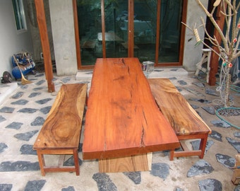 Live Edge Dining Table Reclaimed Solid Slab Rosewood With Acacia Wood Solid Slab Bench Set