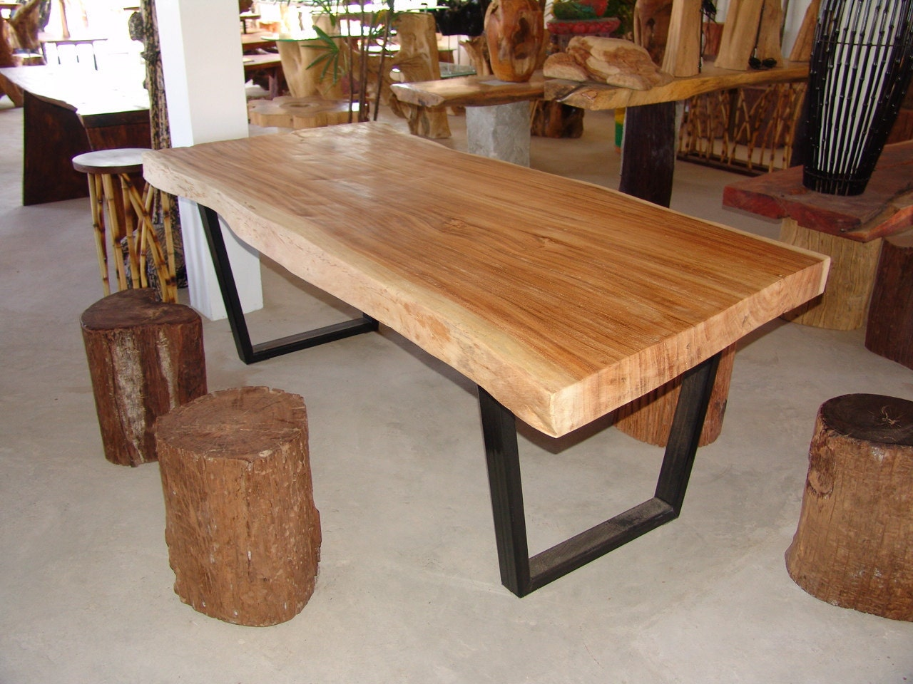 Live Edge Dining Table Acacia Wood Live Edge Reclaimed By Flowbkk