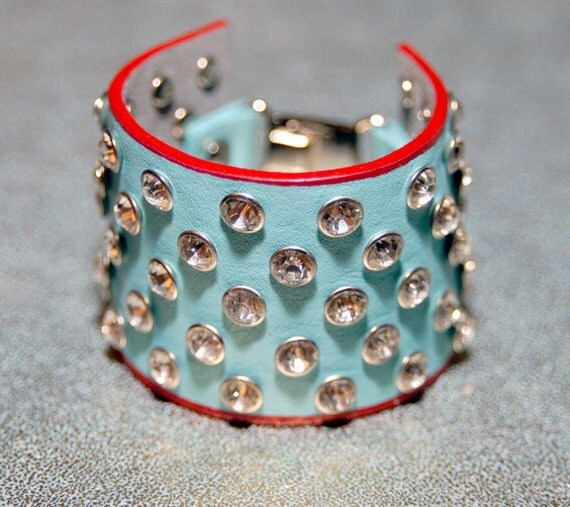 Leather bracelet, cuff, turquoise, red, wristband, Crystal rhinestones, ONE OF A KIND