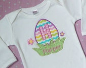 Easter Shirt or Onesie - Easter Egg Applique - Newborn thru 6T - Custom Monogrammed