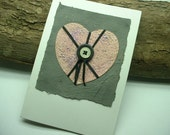 "Anniversary, Wedding, Valentine's Card for Her ""Button Heart"". Vintage Buttons. Handmade Paper - ShoestringCottage"