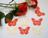 50 x Champagne and Roses Large Butterfly Martha Stewart Punches. Wedding Valentine Scrapbook Embellishments.
