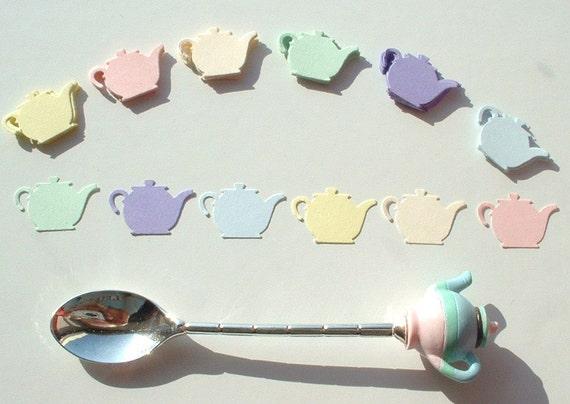 Cute Pastel Teapot Punches x 60. Pale Pink Blue Green Lilac Lemon Cream. Waldorf Inspired Scrapbook Embellishments.