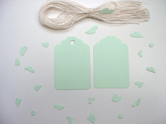 30 Mint Tags. Cotton Strings Included. Your Choice - With or Without Holes.
