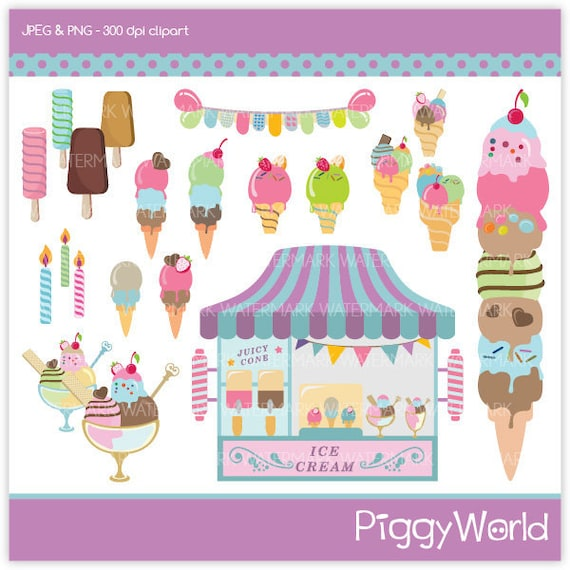 PW3 Ice Cream Boutiqe digital clip art chic sweets