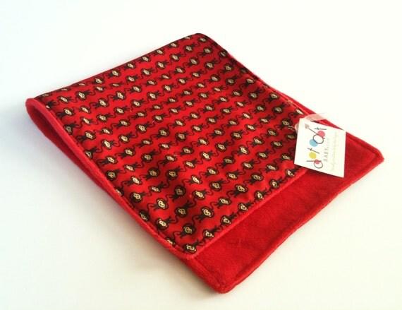 SALE!!! Monkey Around - Burp Cloth with red minky