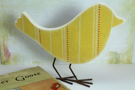 Pink and Yellow Bird Easter Decor - Nursery Decor - Flowers and Stripes - Wood Bird