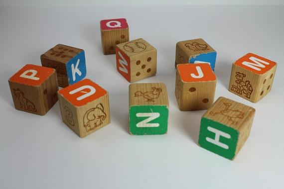 10 Vintage Children's Alphabet Wood Blocks