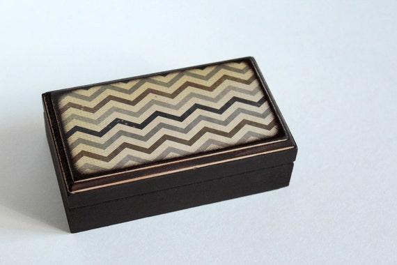 Rustic Brown Black and Gray Chevron - Rectangle Wood Box