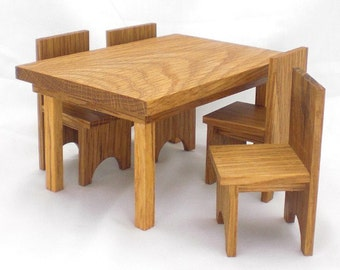 Wood Dollhouse Dining Set - Oak Table and Chairs