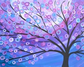 Giclee Print of Purple, Lilac, Pink Abstract Tree Painting