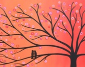 RESERVED FOR LIZ Orange Whimsical Two Birds in a Tree Painting
