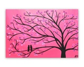 Pink Two Birds in a Tree Painting SALE