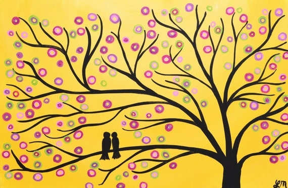 SALE Yellow Whimsical Two Birds in a Tree Painting