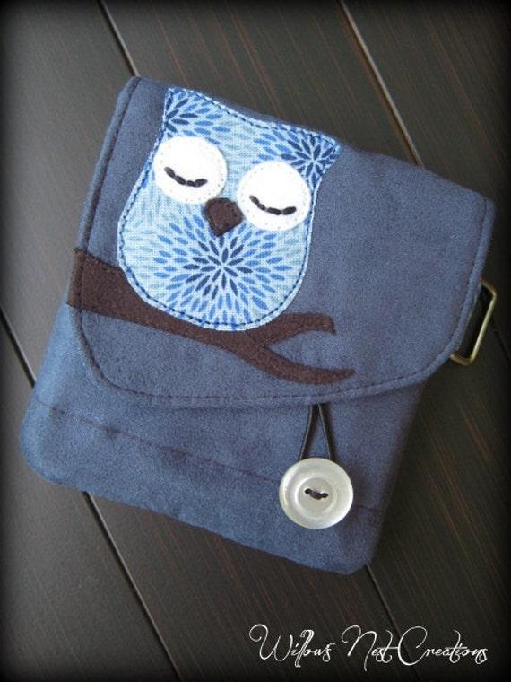 "Indigo Blue ""Little Owl Sleeps"" Handmade Wallet"