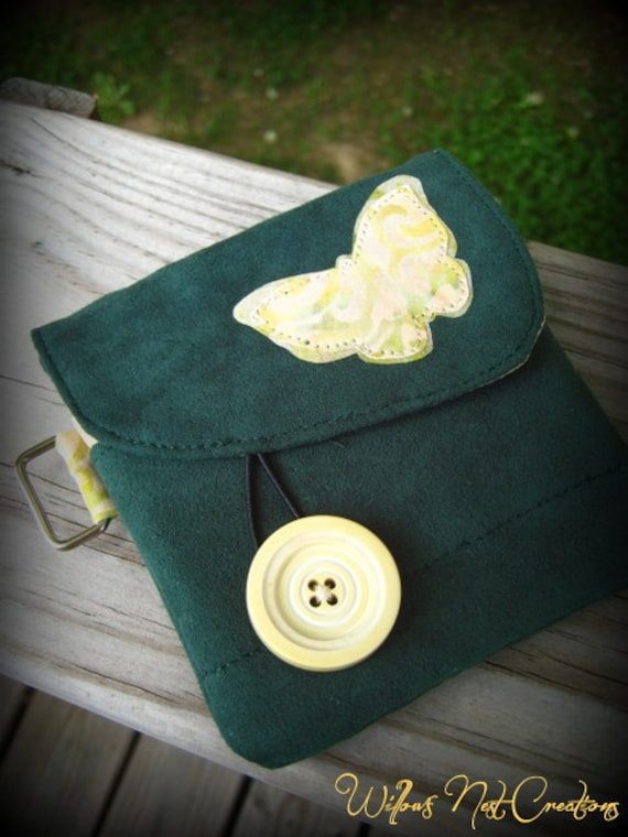 Handmade Sunny Butterfly Wallet in Green and Yellow