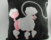 Poodle skirt pillow 1950s look, gray one of a kind, with rhinestone leash
