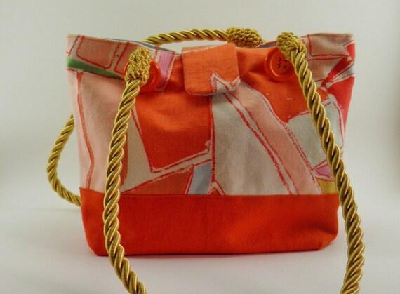 Cute handbags - Mid century modern orange handbag or hand bag, cute handbags, small tote bags