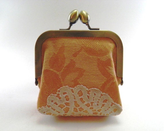 Change purse coin purse peach vintage doily one of a kind