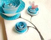 Christmas Gift-Mixed Media Art Original, Birthday Gift for Girl Nursery Art Whimsical-Blue, White, Pink
