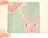 Cat Art-Mixed Media Mini Art on Canvas / Nursery Art