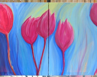 "Spring Decor Tulips--Abstract Painting Acrylic Diptych 28"" x 44""--Red, Pink, Purple, Blue, Turquoise, Green"