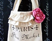 Shabby Chic Paris Market Tote with Hand-Ruffled Rose Pin