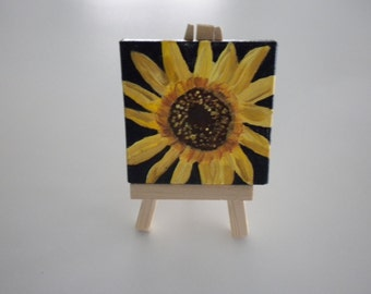 Mini Painting  Sun Flower -Original Acrylic Painting - Table/Desk Art - Give Flowers that Last Forever JUST REDUCED!