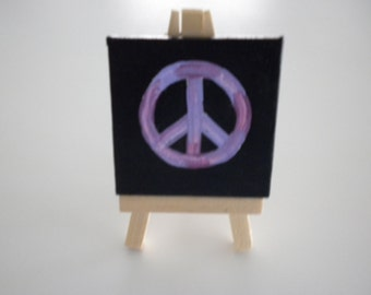 Peace Purple Sign -Original Painting - Table/Desk Art Mini with Wooden Easel JUST REDUCED!