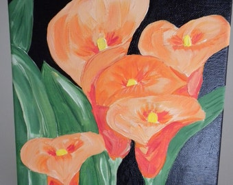Lilies Original Flower Painting - Table/Desk Art  - Give Flowers that Last Forever - JUST REDUCED!